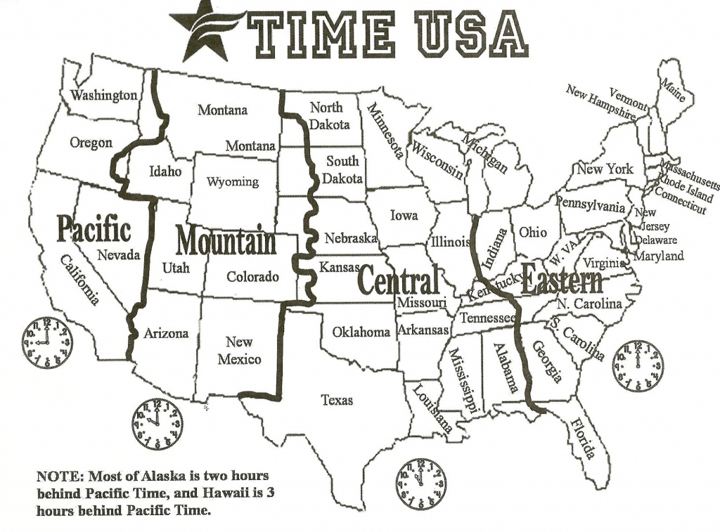Black And White Us Time Zone Map - Google Search   Social Studies - Free Printable Us Timezone Map With State Names