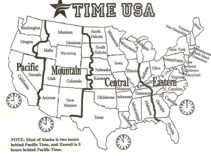 Printable Us Time Zone Map With State Names