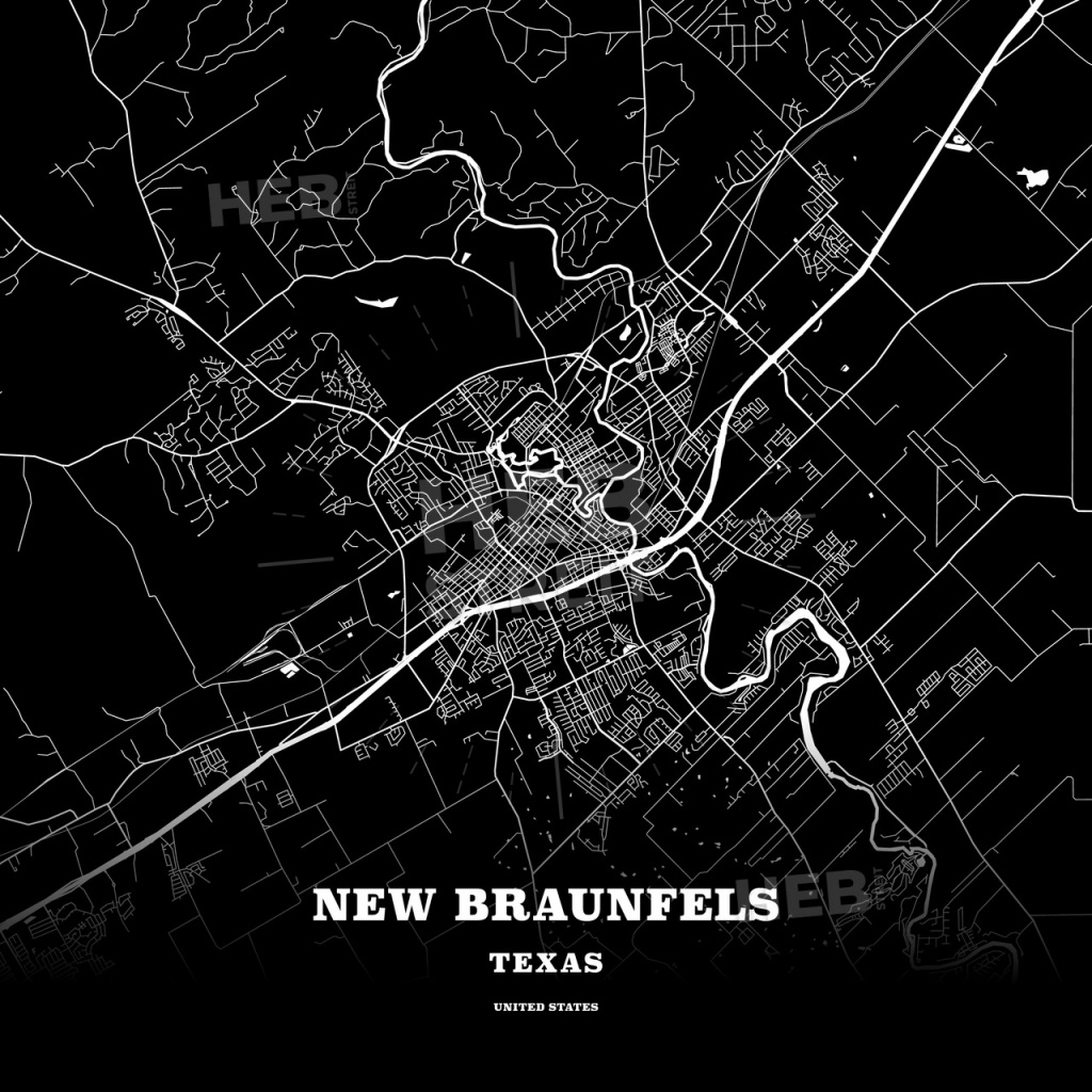 Black Map Poster Template Of New Braunfels, Texas, Usa | Hebstreits - Texas Map Poster