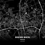 Black Map Poster Template Of Round Rock, Texas, Usa | Hebstreits   Texas Map Poster
