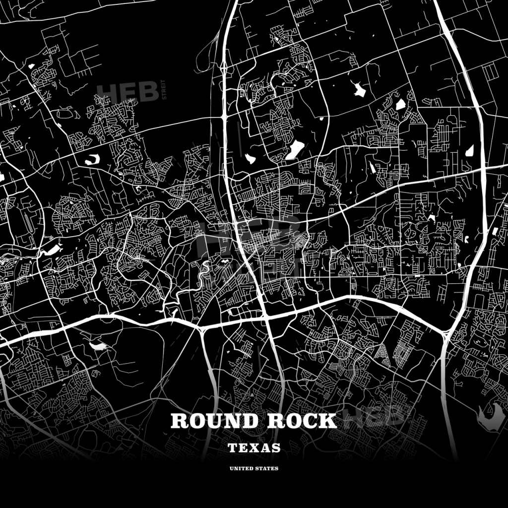 Black Map Poster Template Of Round Rock, Texas, Usa | Hebstreits - Texas Map Poster