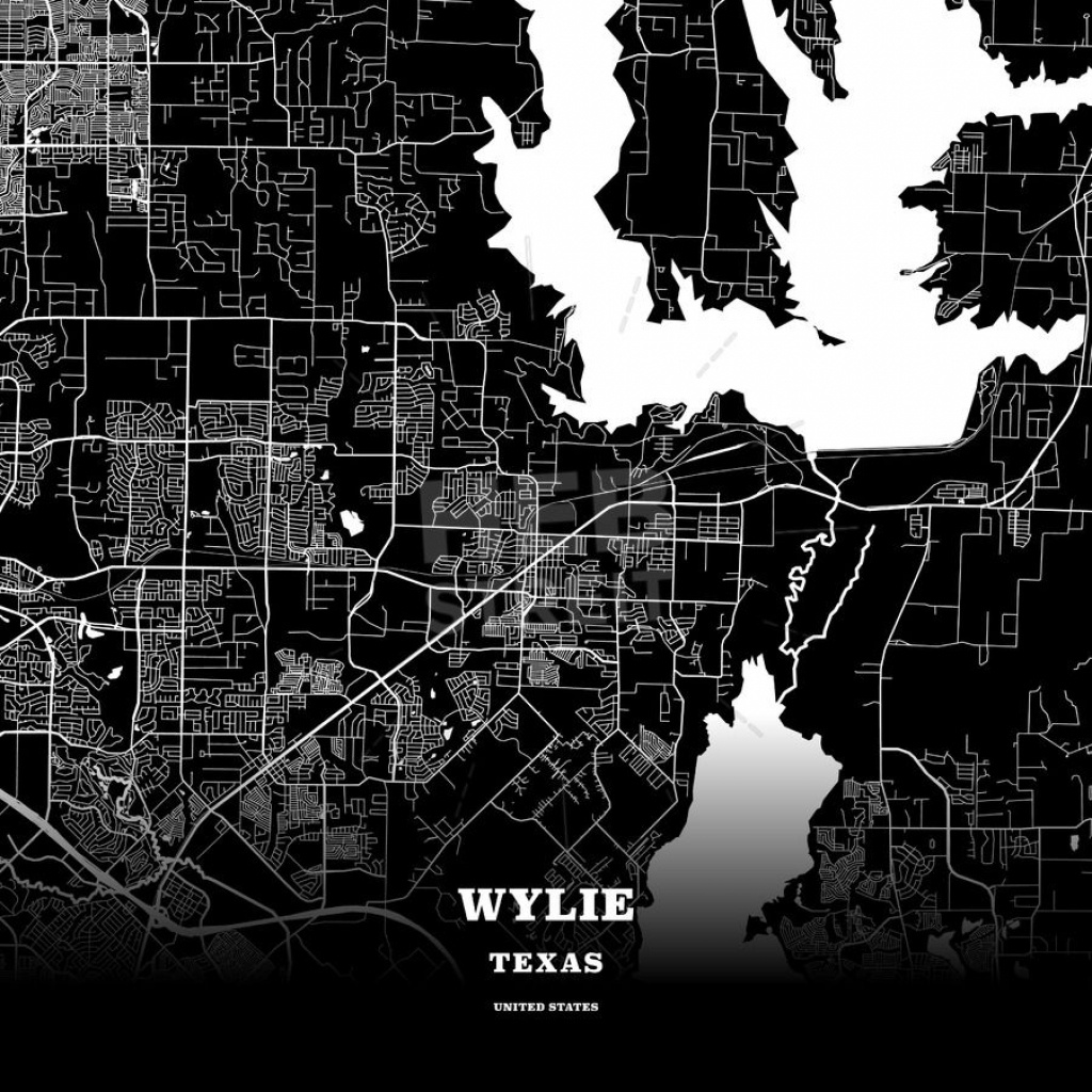 Black Map Poster Template Of Wylie, Texas, Usa | Maps Vector - Wylie Texas Map