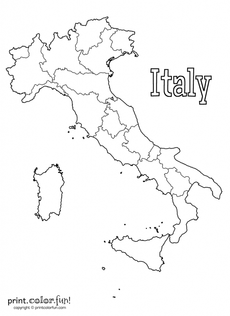 Blank Map Of Italy Coloring Page - Print. Color. Fun! - Printable Blank Map Of Italy