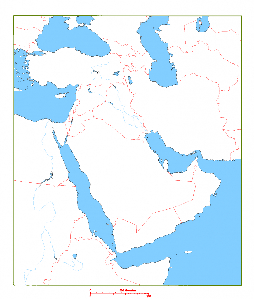 Blank Map Of Middle East | Cc Geography | Geography, Middle East Map - Printable Blank Map Of Middle East