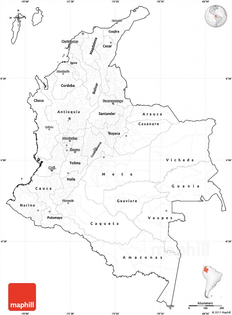 Blank Simple Map Of Colombia, Cropped Outside - Printable Map Of Colombia