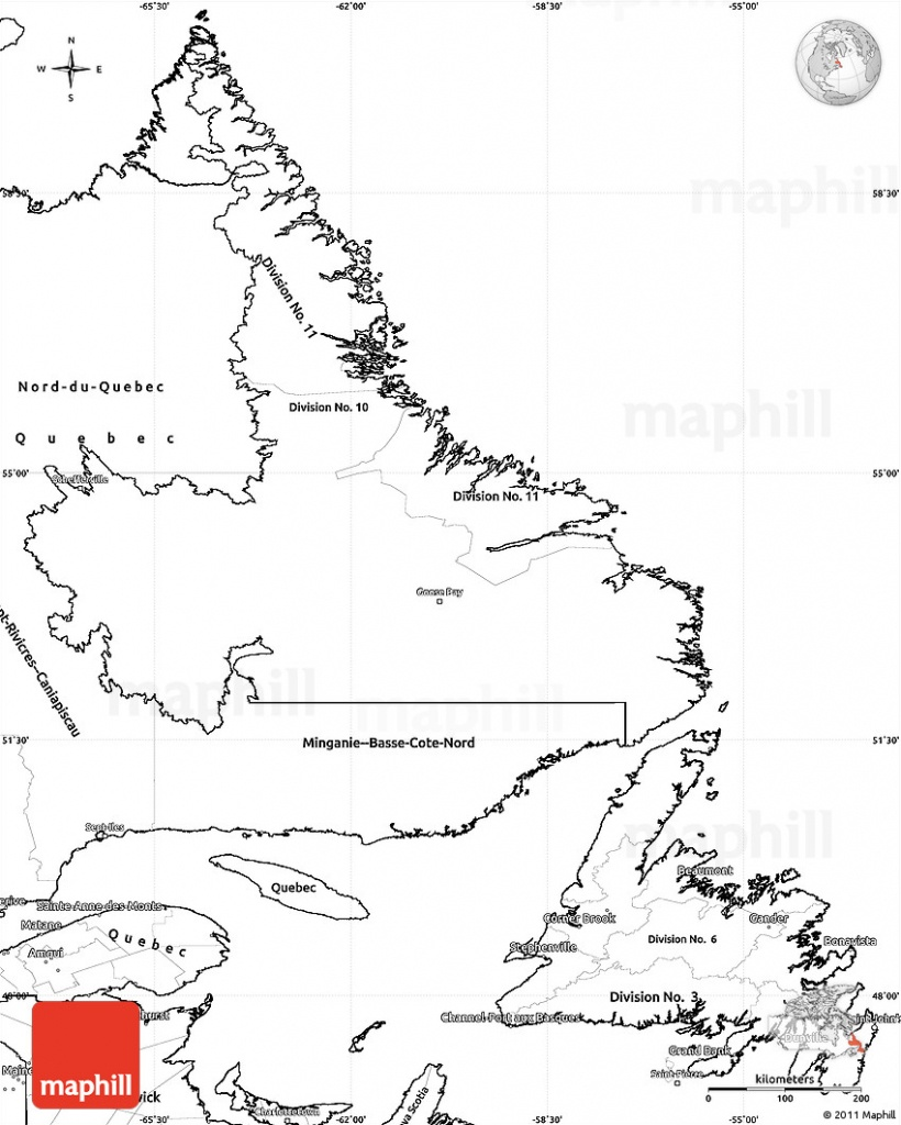 Blank Simple Map Of Newfoundland And Labrador - Printable Map Of Newfoundland