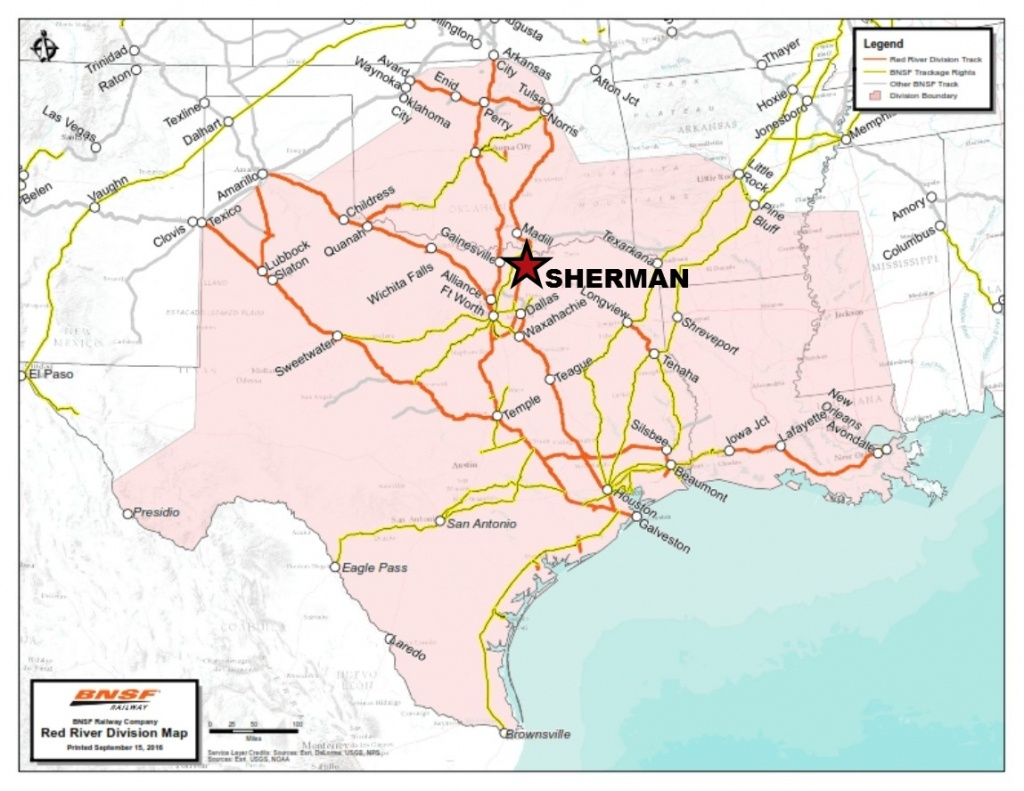 Bnsf Rail Map With Sherman - Sedco - Sherman Texas Map