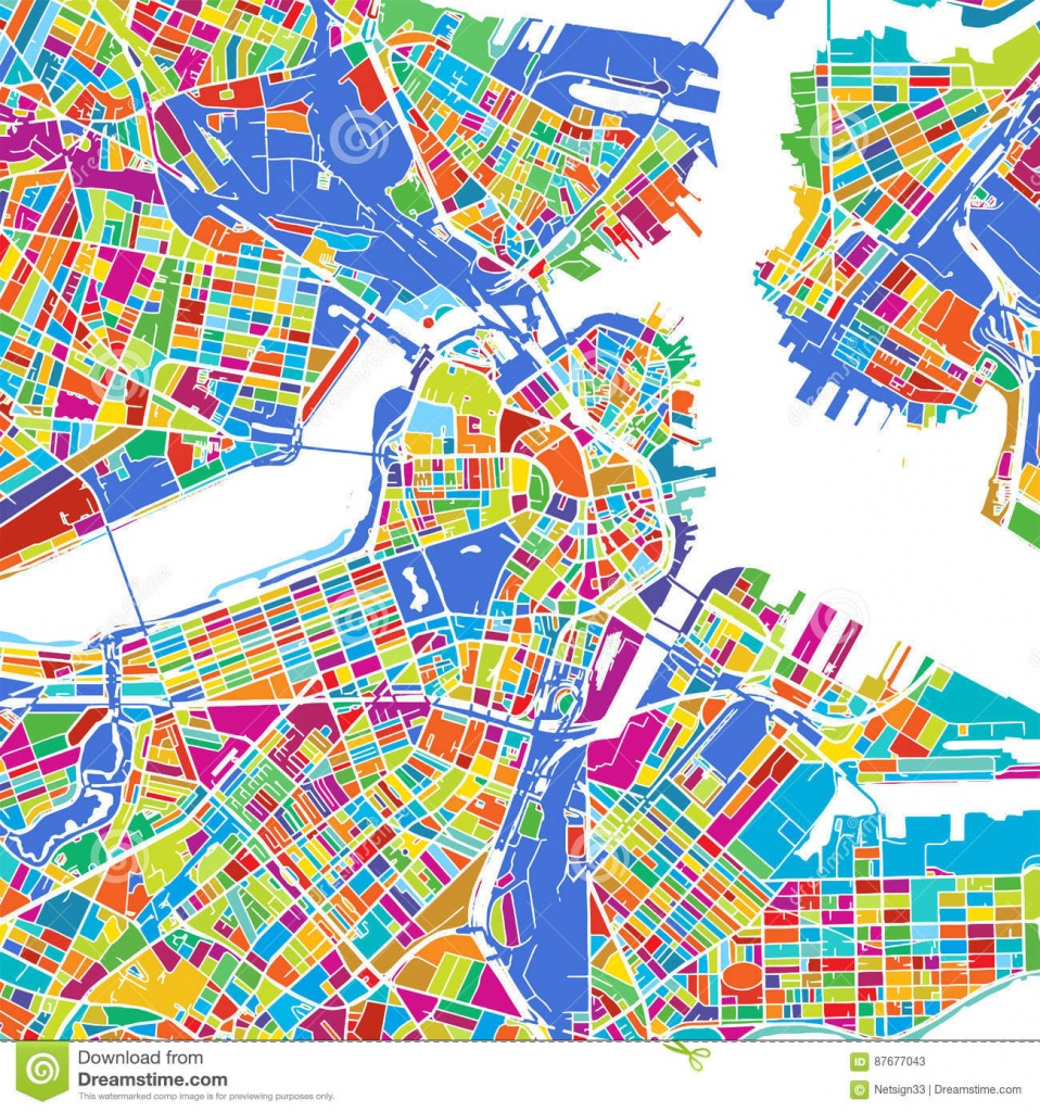 Boston Colorful Vector Map Stock Vector. Illustration Of Color - Printable Map Of Boston