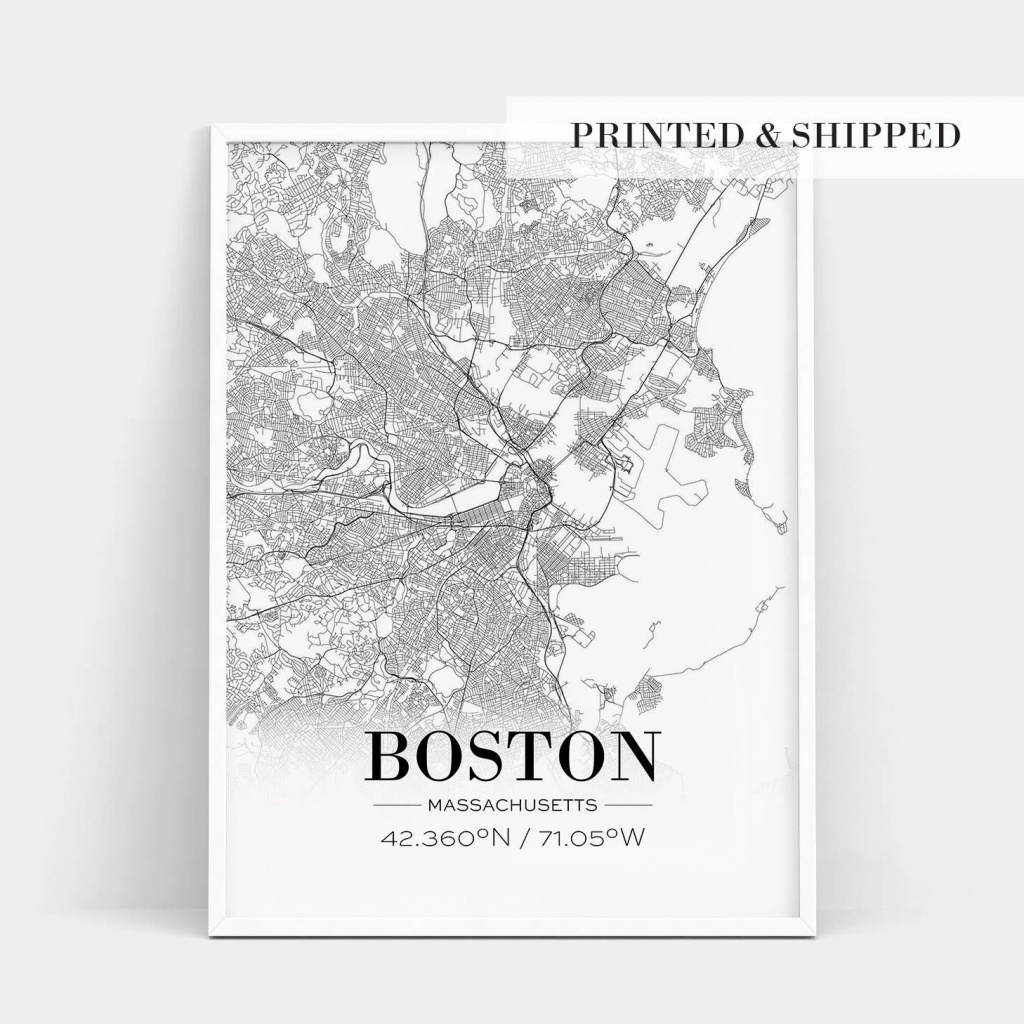 Boston Print, Boston City Map, Boston Poster, Boston Map Print - Boston City Map Printable