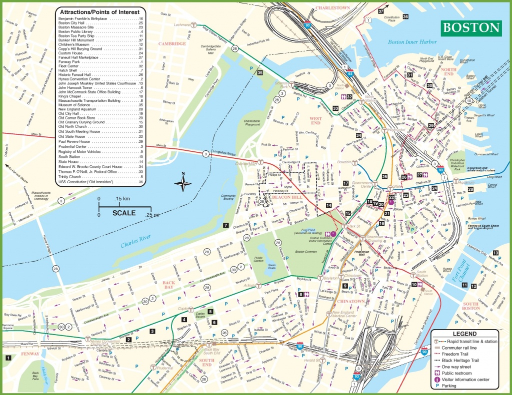 Boston Tourist Attractions Map - Printable Map Of Boston Attractions