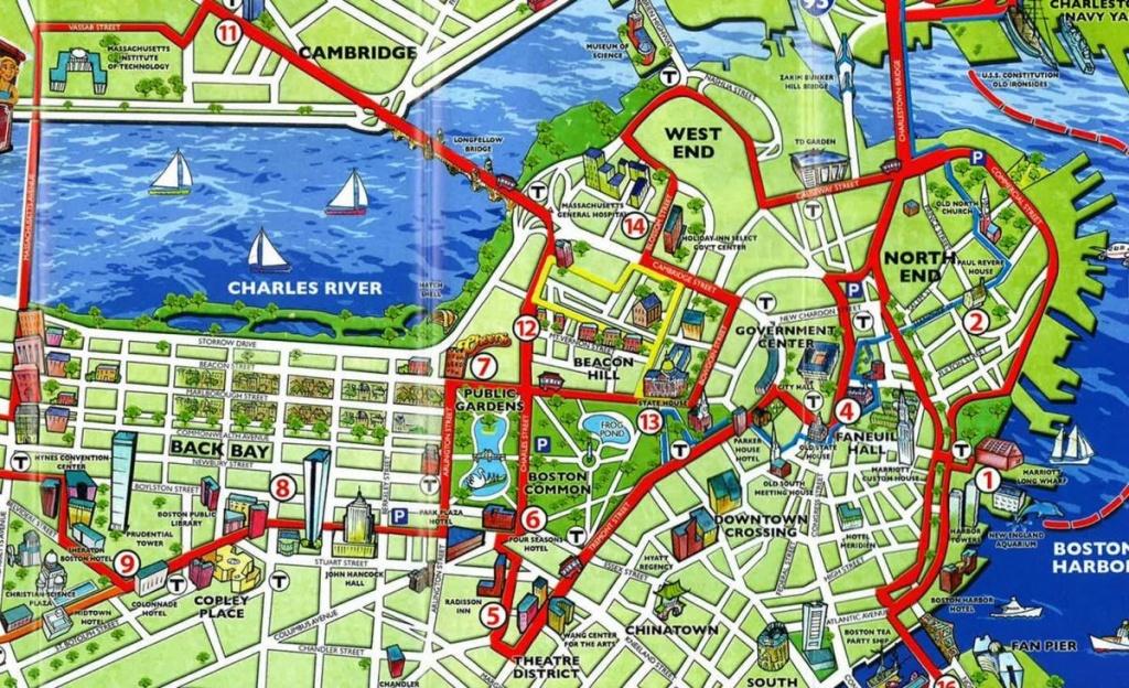 Boston Tourist Map - Tourist Map Of Boston (United States Of America) - Printable Map Of Boston Attractions