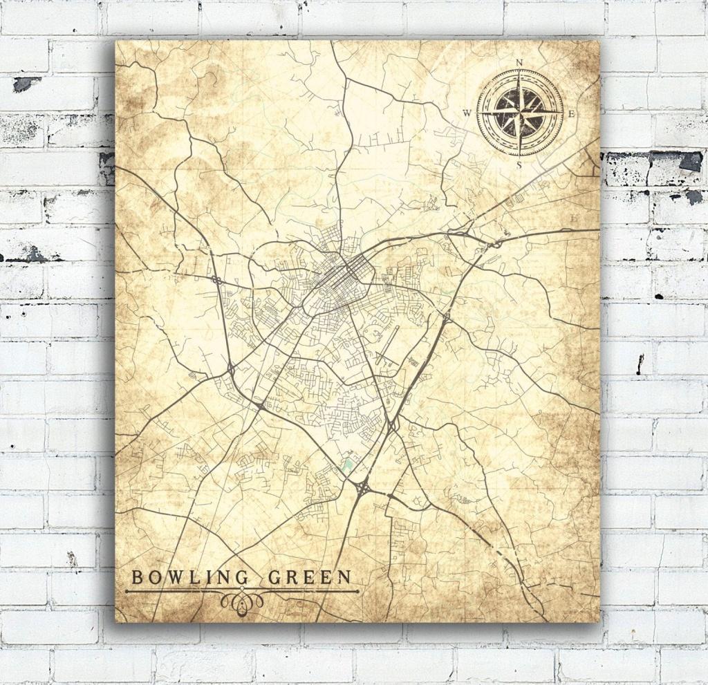 Bowling Green Ky Canvas Print Kentucky Ky City Vintage Map Vintage - Printable Map Of Bowling Green Ky