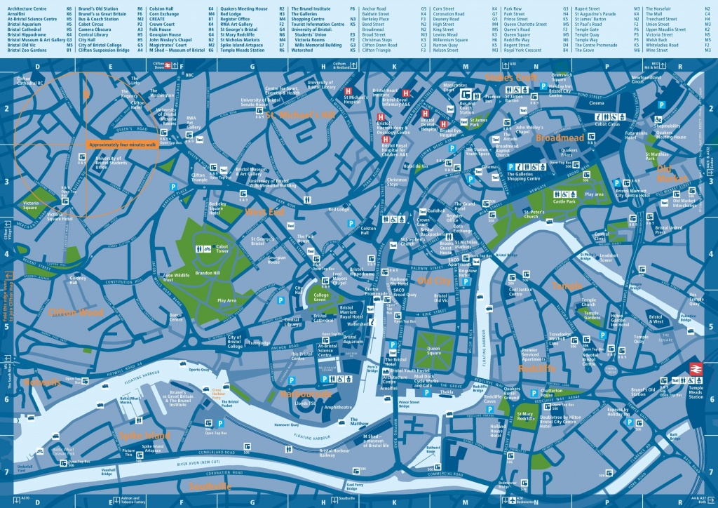 Bristol Tourist Attractions Map - Bristol City Centre Map Printable