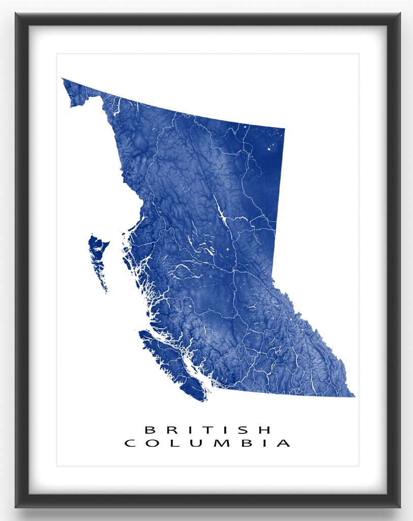 British Columbia Map Print, Bc Province Map, Canada, Landscape Art - Printable Map Of Bc