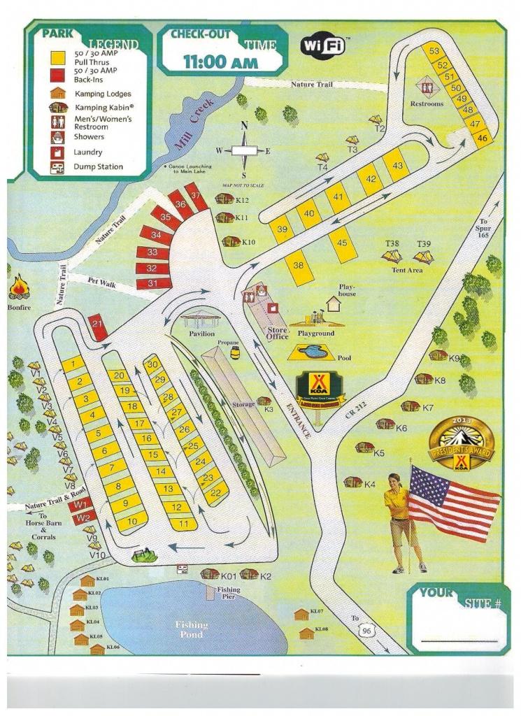 Brookeland, Texas Campground | Brookeland / Lake Sam Rayburn Koa - Texas Campgrounds Map