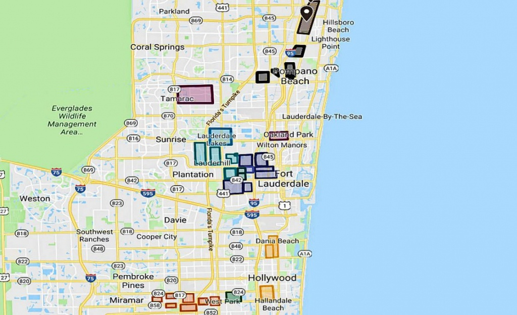 Broward County Gangs Map Of Fort Lauderdale, Pomapno, Miramar, More - Pompano Florida Map