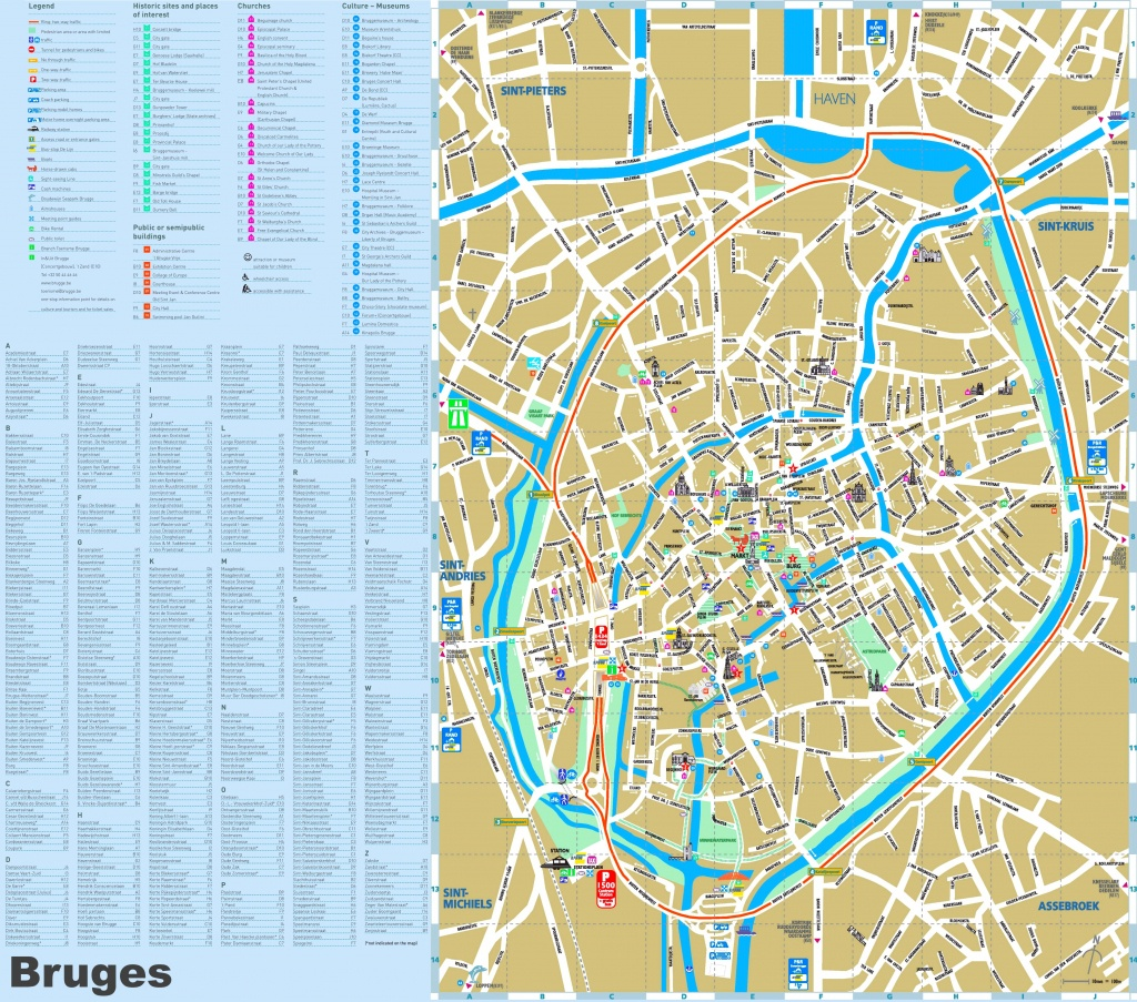 Bruges Maps   Belgium   Maps Of Bruges (Brugge) - Bruges Tourist Map Printable