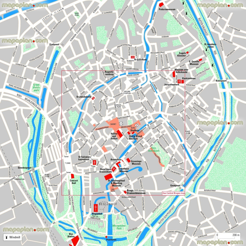 Bruges Maps - Top Tourist Attractions - Free, Printable City Street - Bruges Tourist Map Printable