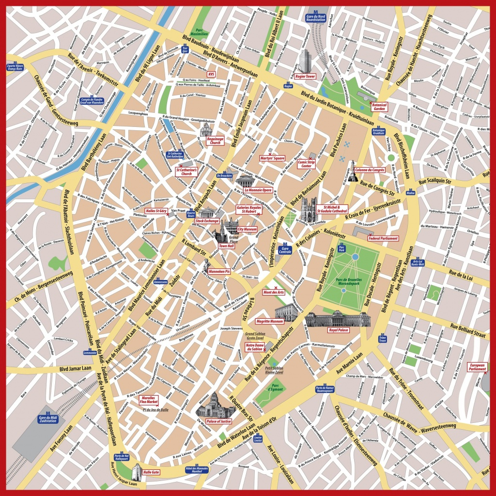 Brussels Map Print - Tourist Map Of Brussels Printable (Belgium) - Printable Map Of Brussels