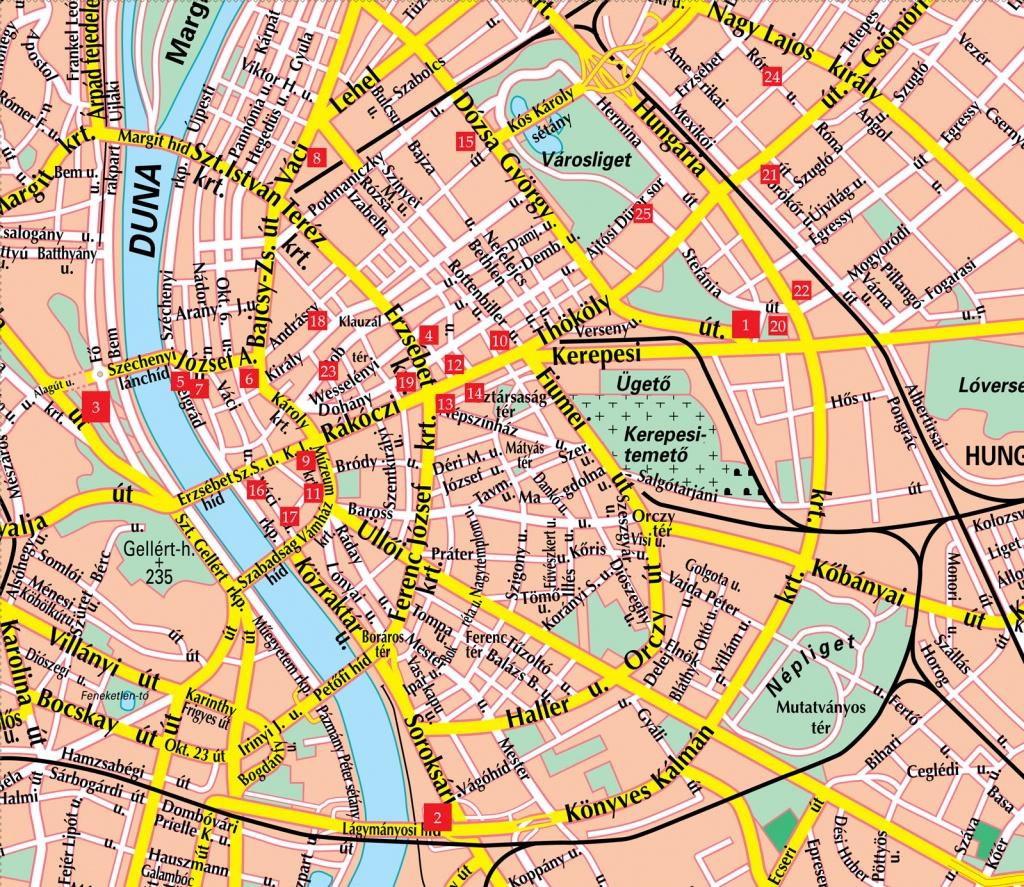 Budapest Street Map - Budapest Hungary • Mappery - Budapest Street Map Printable