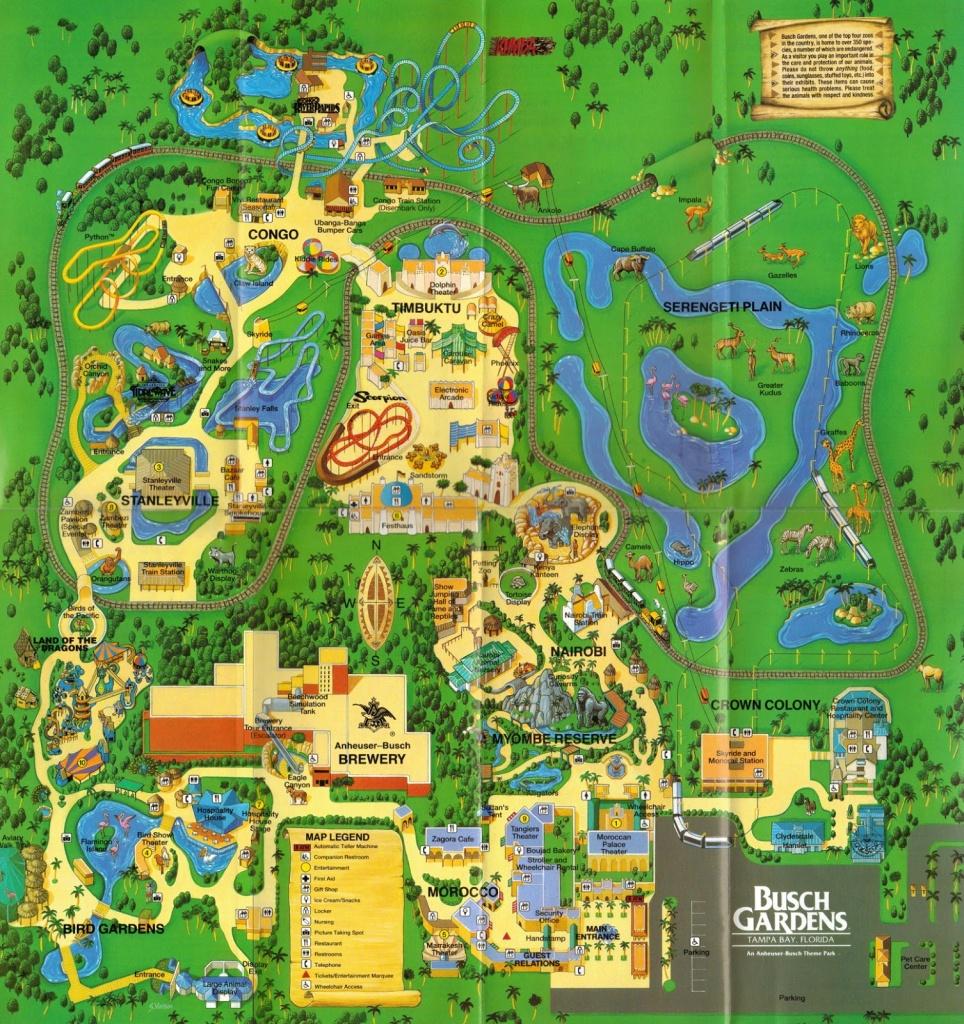 Busch Garden Tampa Map And Travel Information | Download Free Busch - Bush Garden Florida Map