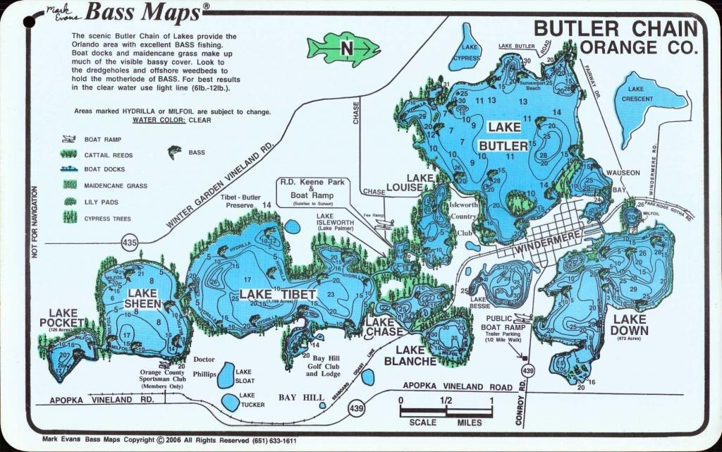 Butler Chain Of Lakes   Home > Florida - Bass Maps > Orlando Area - Florida Fishing Lakes Map