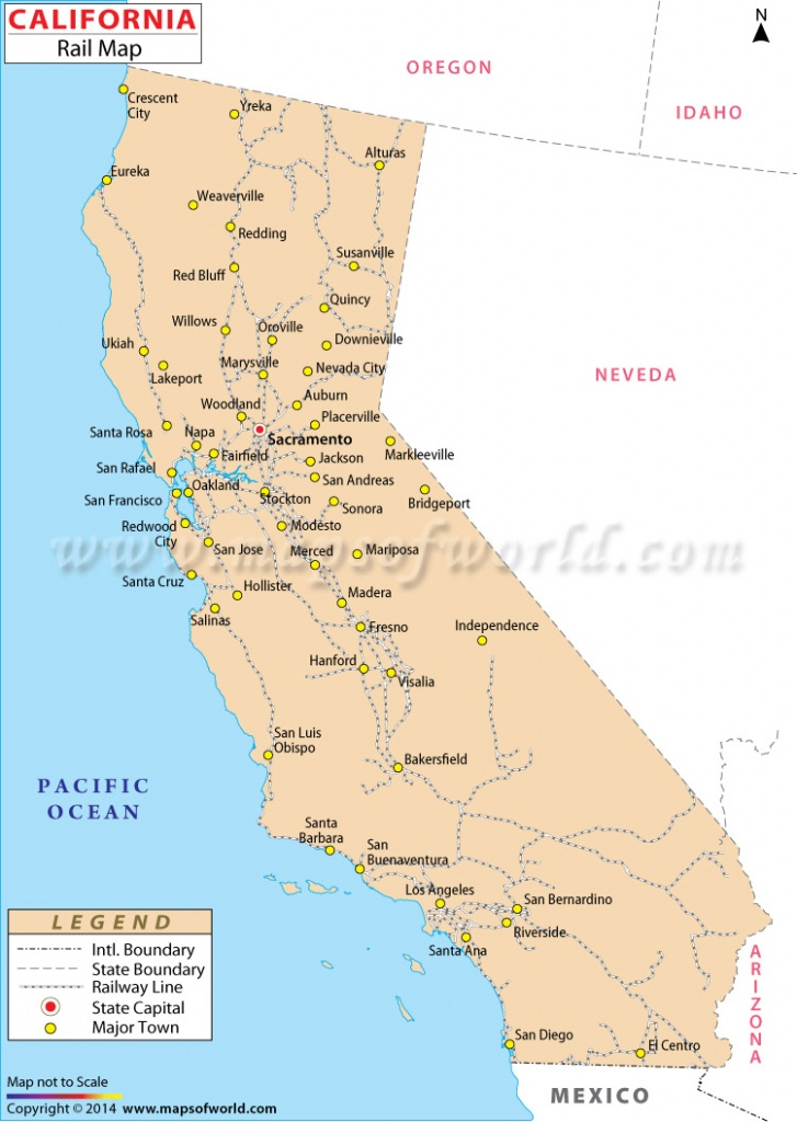 Buy California Rail Map - California Railroad Map