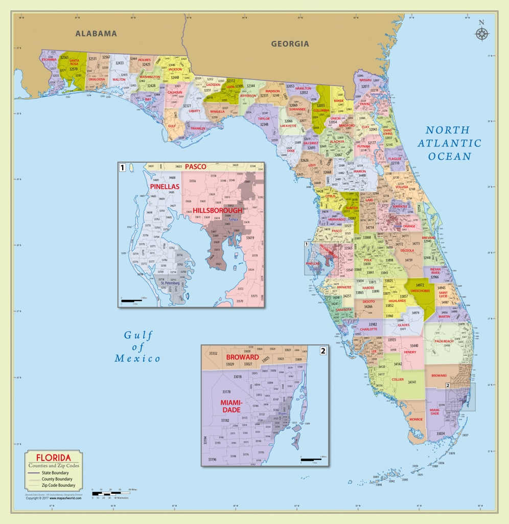 Buy Florida Zip Code With Counties Map - Florida Wall Maps For Sale