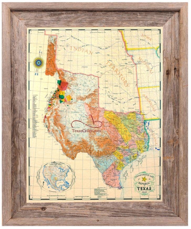 Texas Map Framed Art