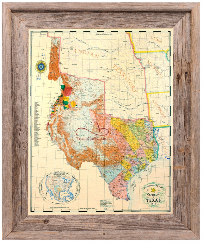 Buy Republic Of Texas Map 1845 Framed - Historical Maps And Flags - Vintage Texas Maps For Sale