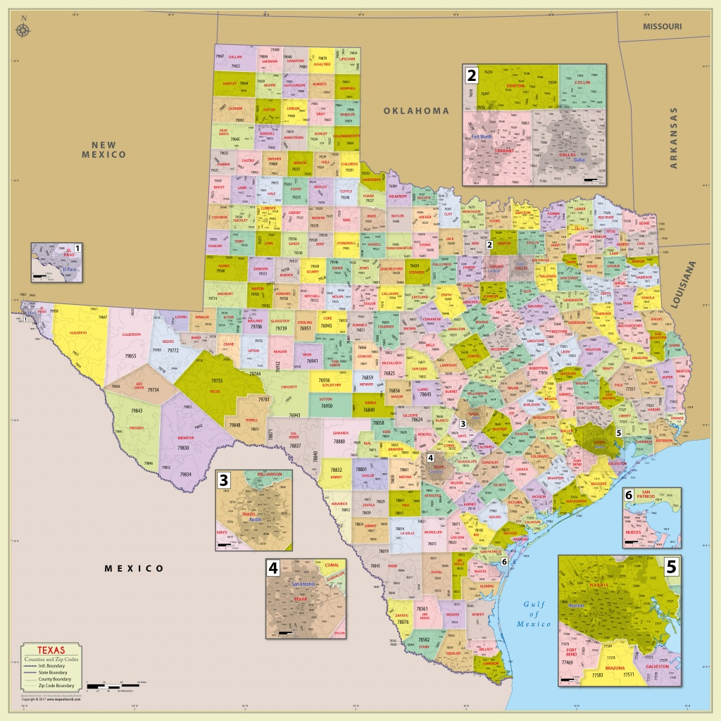 Buy Texas Zip Code With Counties Map - Texas County Wall Map