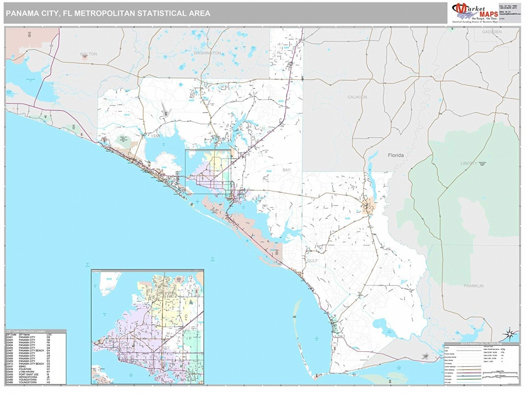 Buy Zip Code Wall Map Of Panama City Beach, Fl Zip Code Map Not - Map Of Panama City Beach Florida