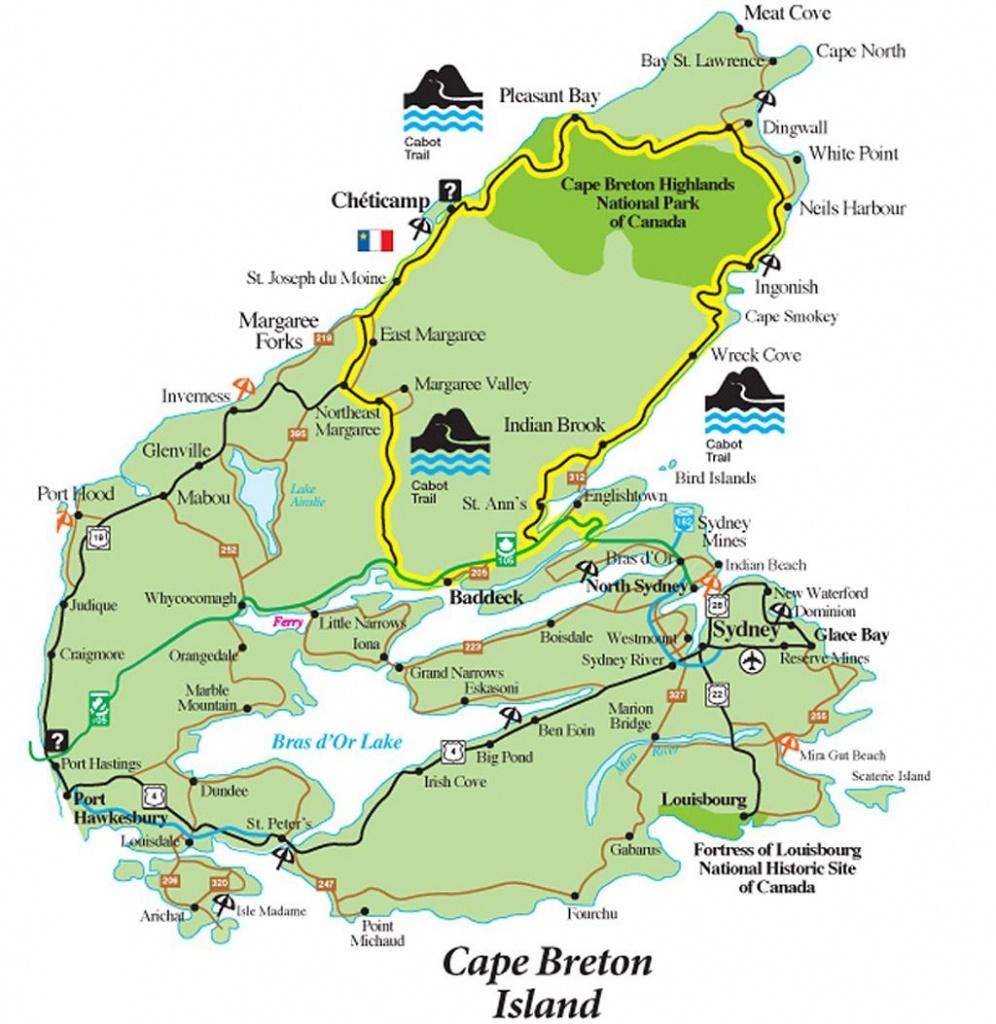 Cabot Trail Map - Cape Breton Island Nova Scotia • Mappery   Travel - Printable Map Of Cape Breton Island