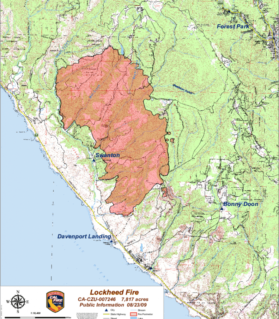 Cal Fire Map Of The Lockheed Fire. The Study Area Was East Slightly - Southern California Fire Map