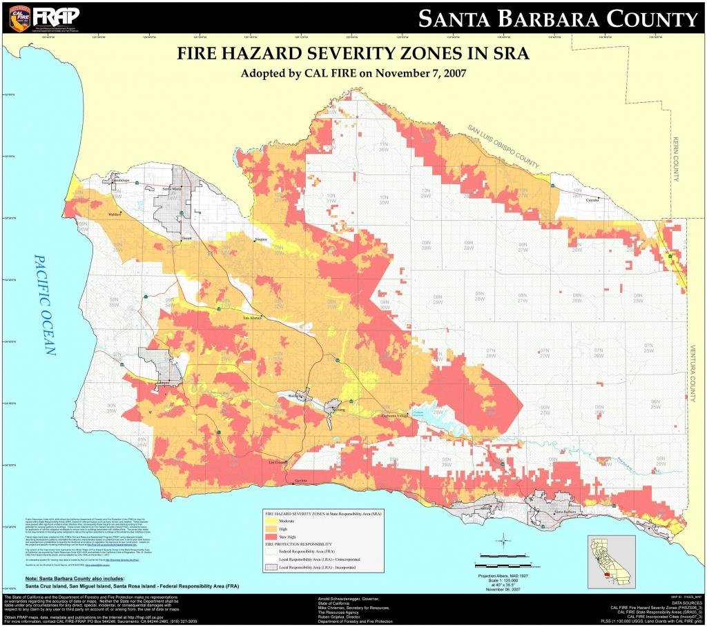 Cal Fire – Santa Barbara County Fhsz Map Within Map Of California - San Diego California Fire Map