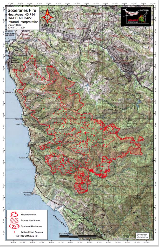 Cal Fire Soberanes Fire Maps In Pdf | Big Sur California - California Fire Heat Map