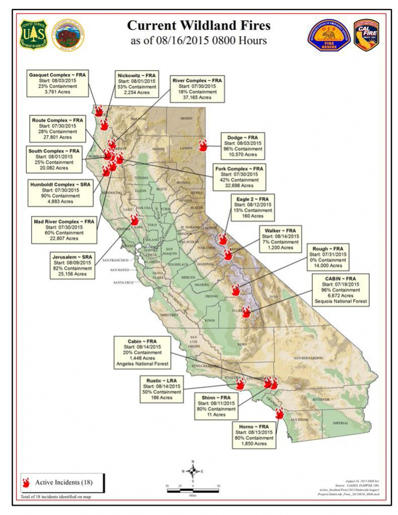 Cal Fire Sunday Morning August 16, 2015 Report On Wildfires In - Active Fire Map For California