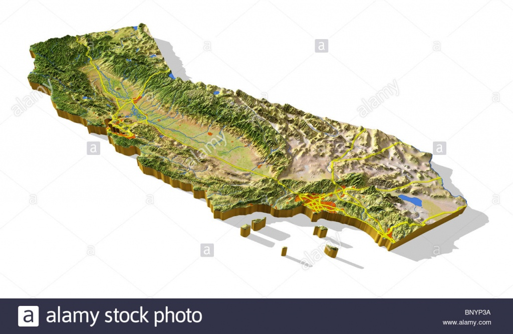 California, 3D Relief Map Cut-Out With Urban Areas And Interstate - 3D Map Of California
