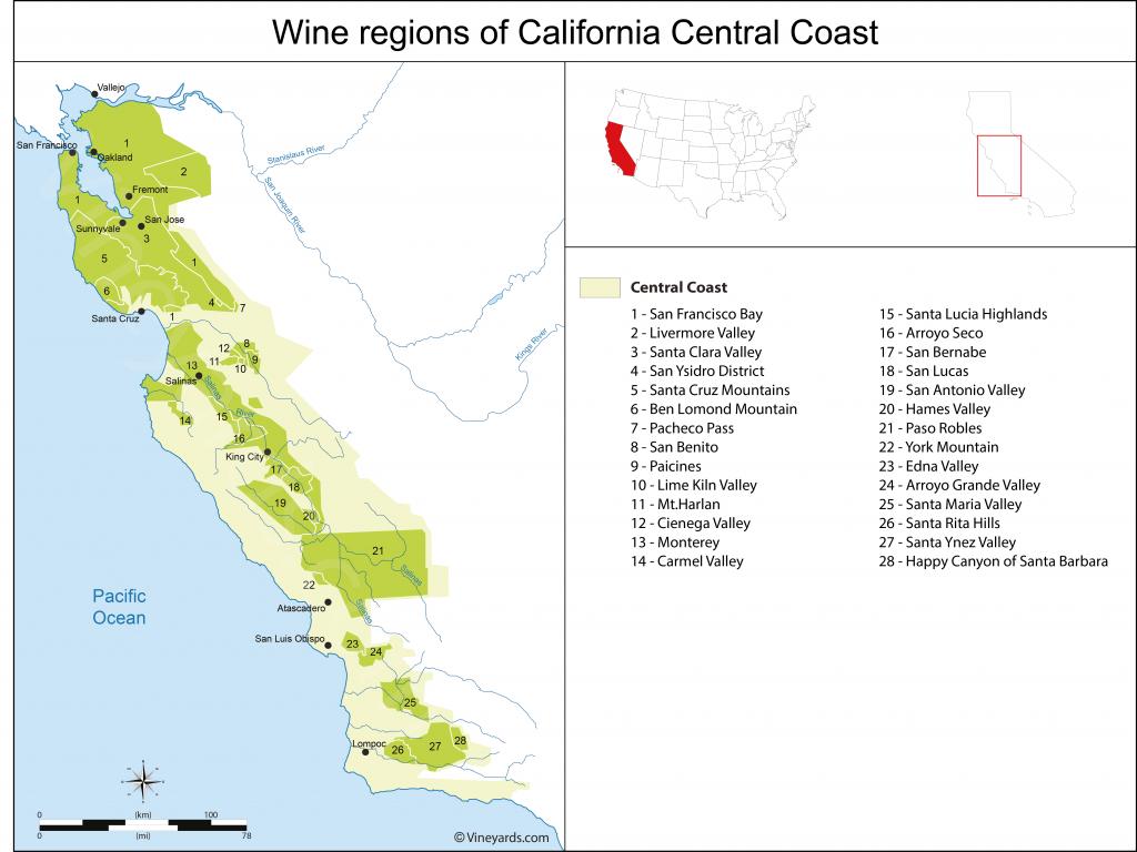 California Central Coast Map Of Vineyards Wine Regions - California Ava Map