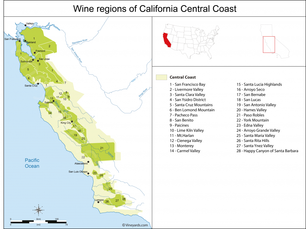 California Central Coast Map Of Vineyards Wine Regions - Santa Maria California Map