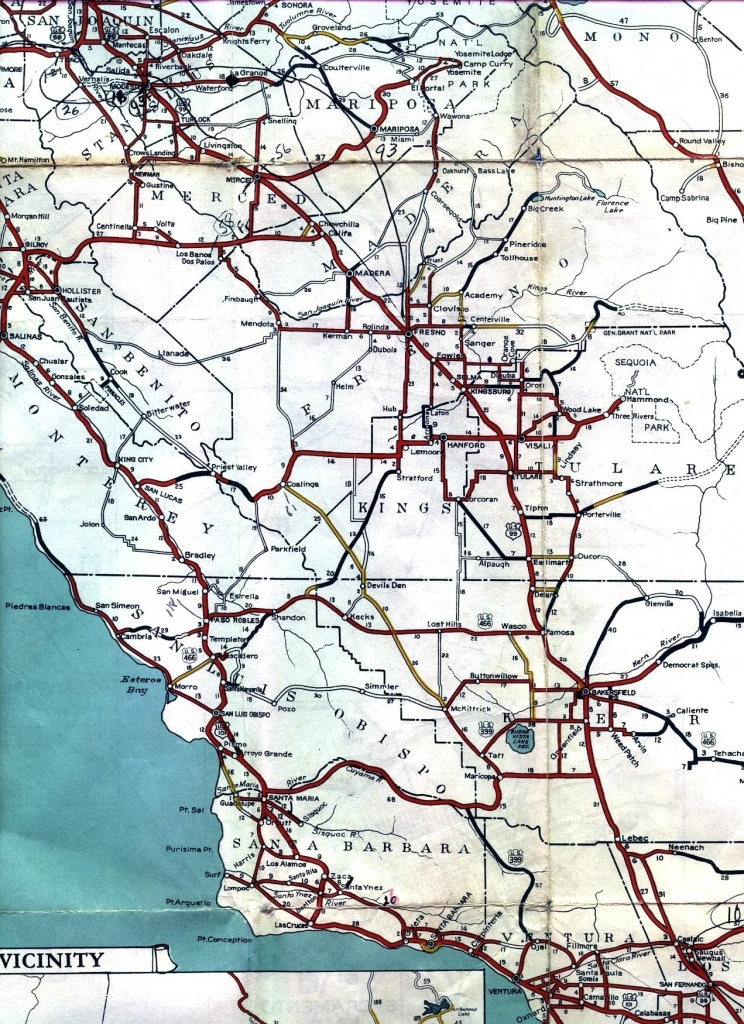 California Central Coast Road Map – Map Of Usa District - Central California Road Map