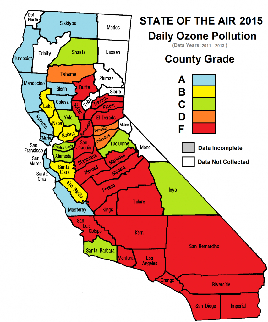 California Cities Top List Of Most Polluted Areas In American Lung - Air Quality Map For California
