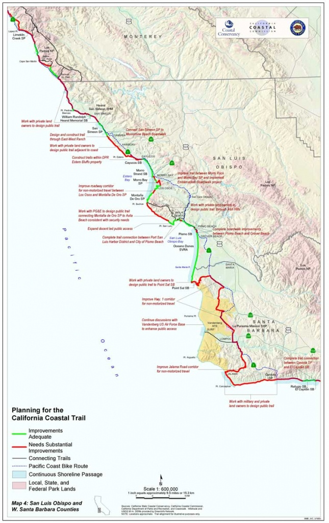 California Coastal Trail - Pacific Coast Bike Route Map California