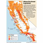 California Fire Threat Map Not Quite Done But Close, Regulators Say   Map Of California Wildfires Now