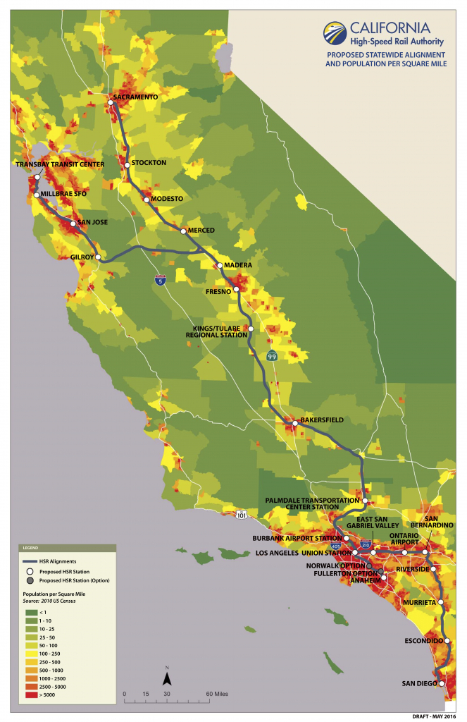 California High Speed Rail Map With Population Per Square Mile - High Speed Rail California Map