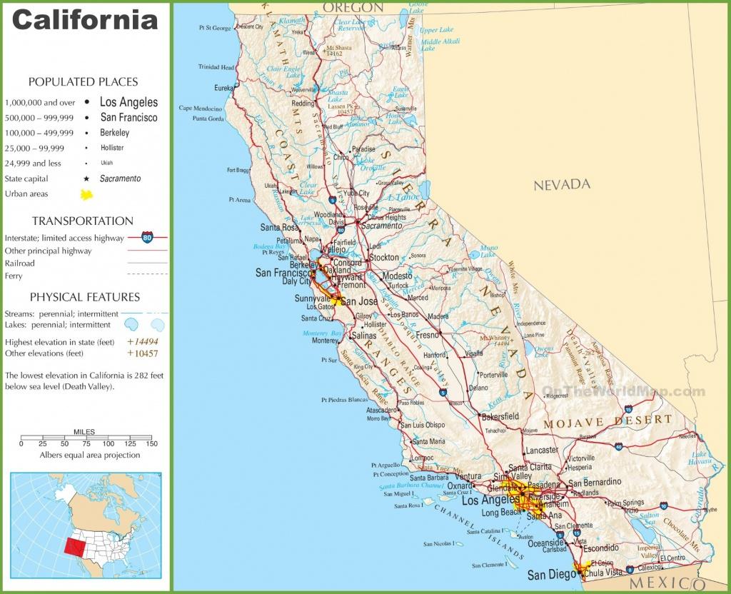 California Highway Map - California Landforms Map