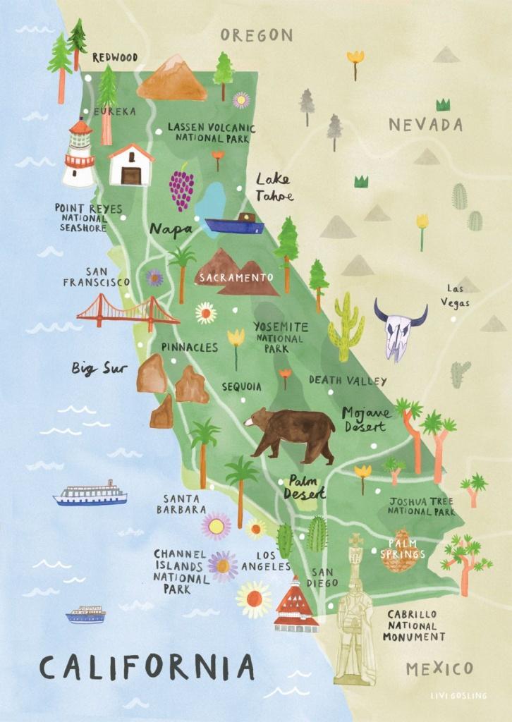 California Illustrated Map - California Print - California Map - California Roadside Attractions Map