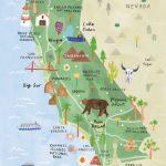 California Illustrated Map   California Print   California Map   La Costa California Map