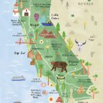 California Illustrated Map   California Print   California Map   Southern California National Parks Map