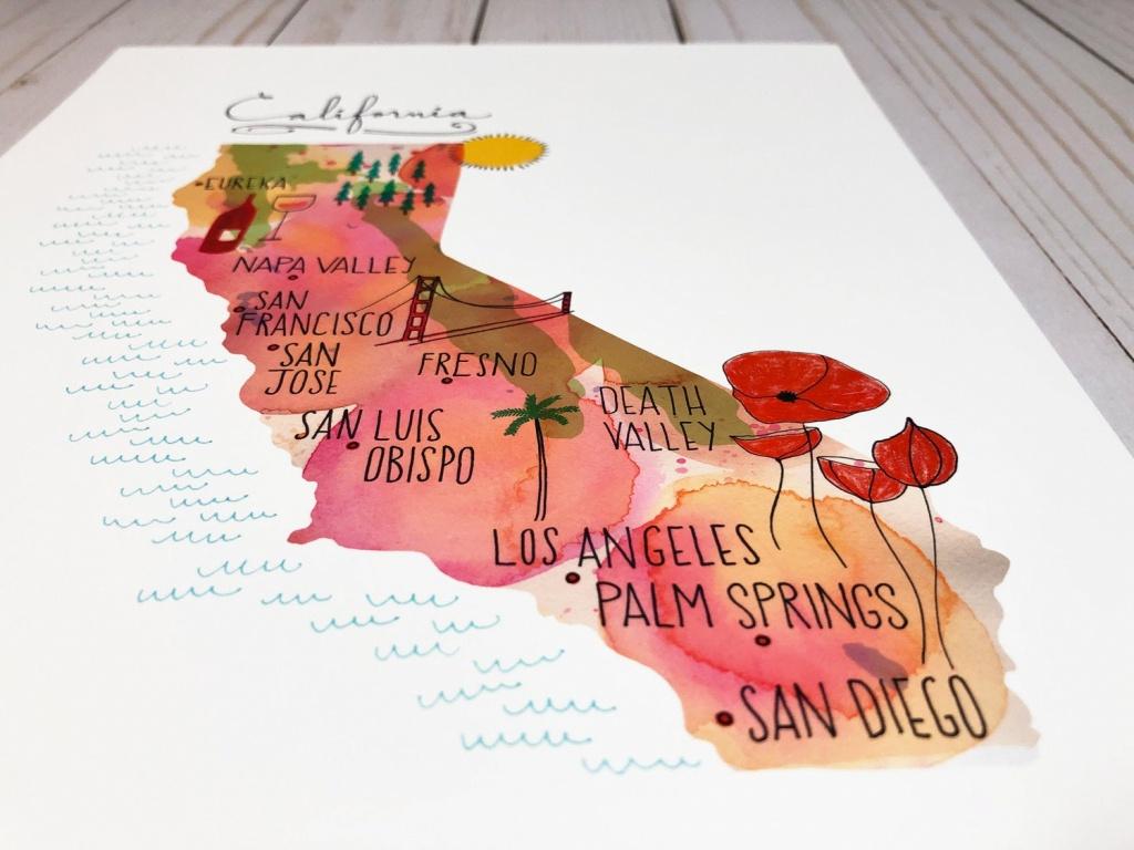 California Map Art Print Map Of California California Wall   Etsy - California Map Art